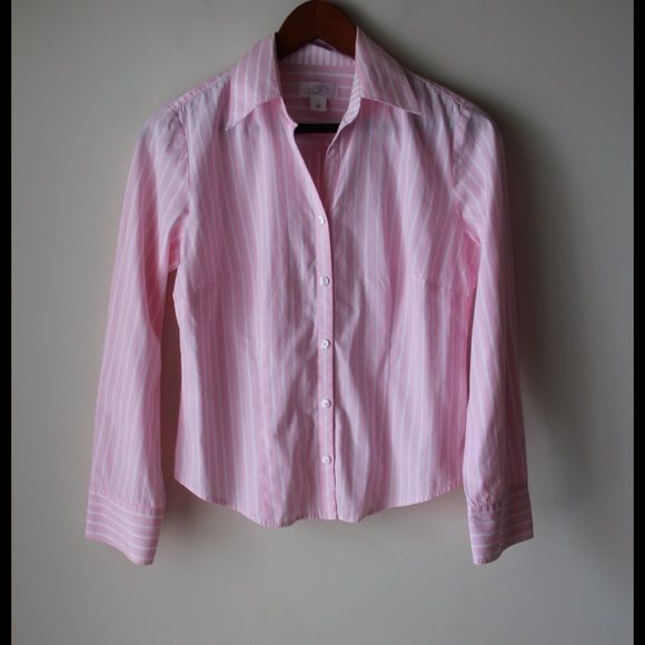 """LOFT pinstriped button down Pink and white pinstriped button down shirt - button cuffs - 100% cotton - chest across measures 17.5"""" - total length measures 22"""" - size 4 LOFT Tops"""