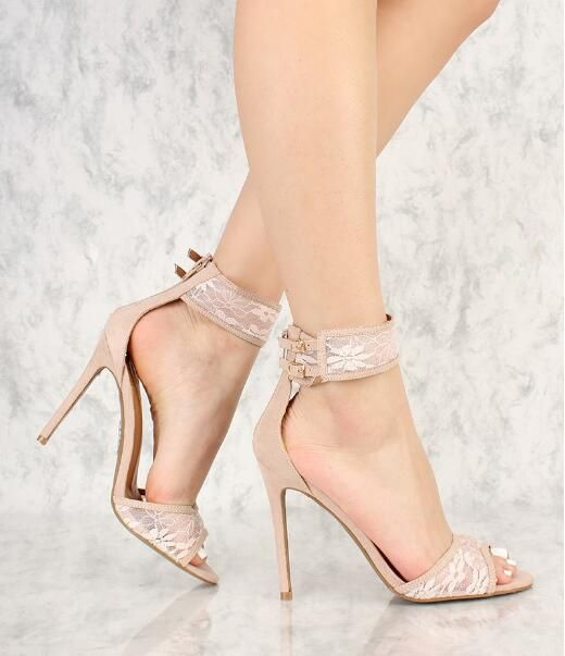d0d699e38f2031 Elegant Lace Straps Women Concise Style Sandals Sexy Open Toe Two Ankle  Buckles Ladies Fashion High