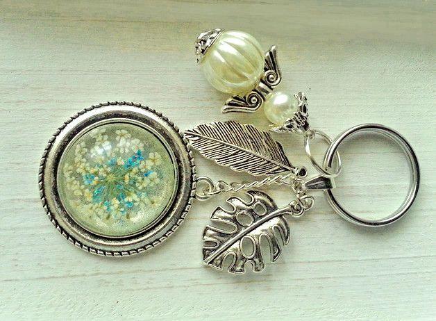 Schlsselanhnger  Schlsselanhnger mit trocknene Blume und Engel II  ein Designerstck von