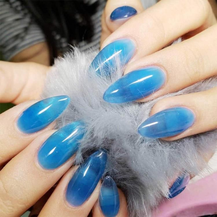 almond shaped blue jelly nails manicure ideas summer trends in 2020 glass nails art fake nails press on nails almond shaped blue jelly nails manicure