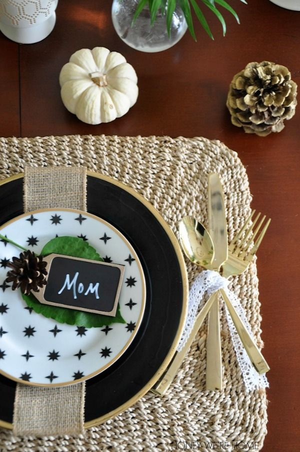 Natural + Black + Gold Thanksgiving Table   Thanksgiving table ...