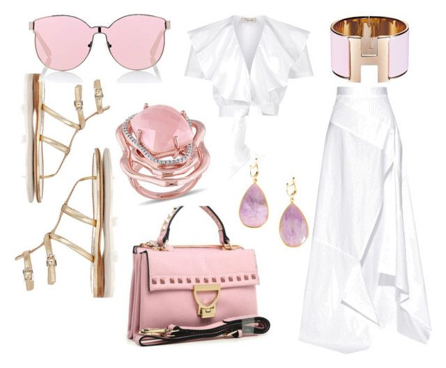 """""""In The 'Pink' with  The Handbag Maven."""" by thehandbagmaven ❤ liked on Polyvore featuring Prada, Michael Lo Sordo, Temperley London, Thelonious, Karen Walker and Catherine Malandrino"""