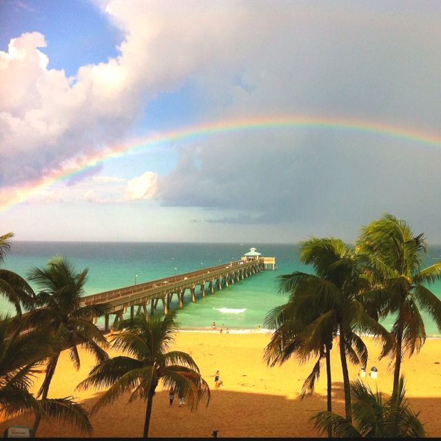 Rainbow Over The Deerfield Beach Pier Fl