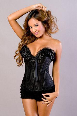 bffc85c9f0 Ruffle Lace Brocade Boned Corset w  Bow Detail 3073 Velvet Kitten Sweeten  seduction by making