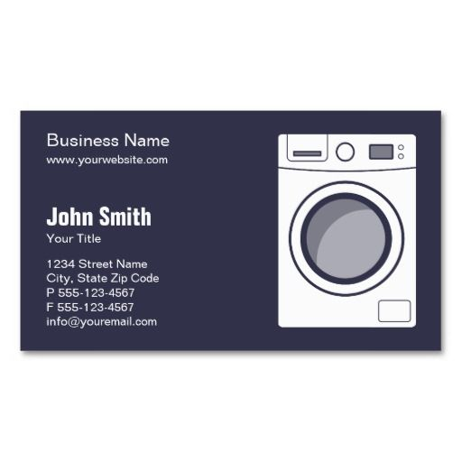 Washing Machine Business Cards Laundry Repair Appliance