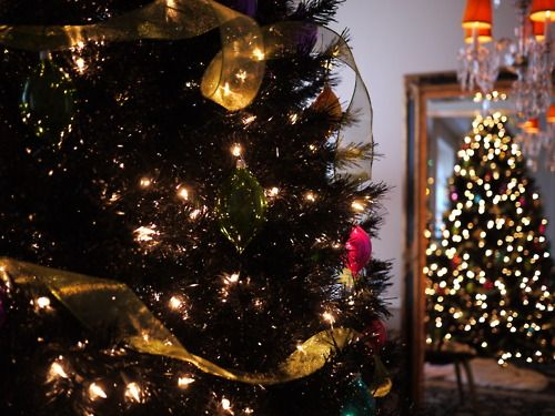 Black Christmas Tree in the NYC apartment Winter Decorations