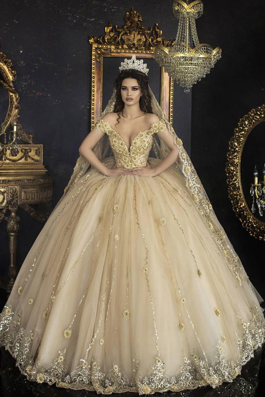 off shoulder gold color wedding dress,lace-up crystal beading ball