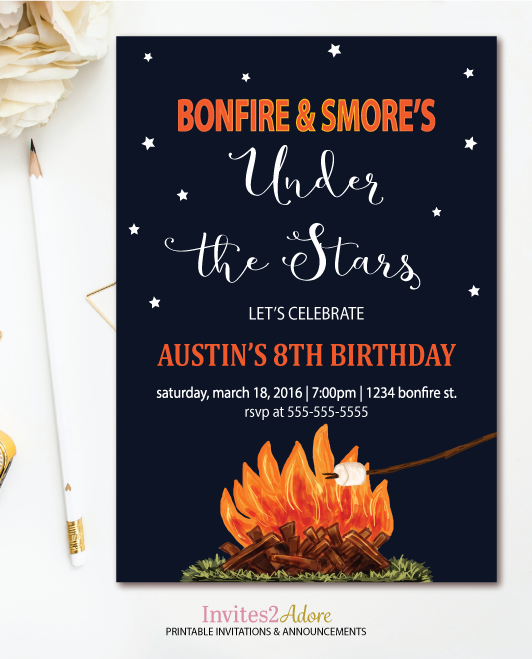 Bonfire & Smore's Birthday Invitation - Campfire Party ...