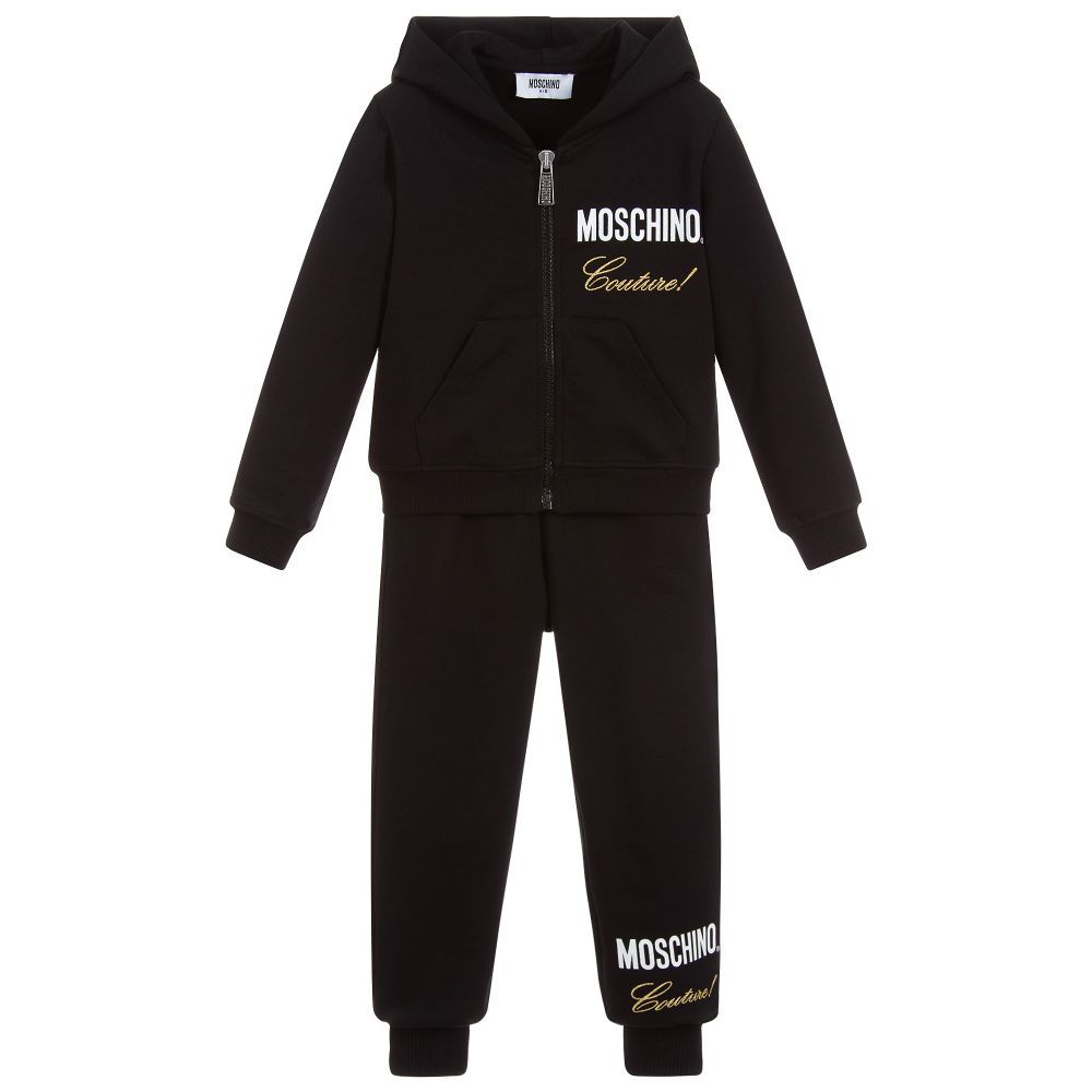 3c499acb1201c Girls Mini-me black hooded tracksuit from Moschino Kid-Teen, made in  lightweight