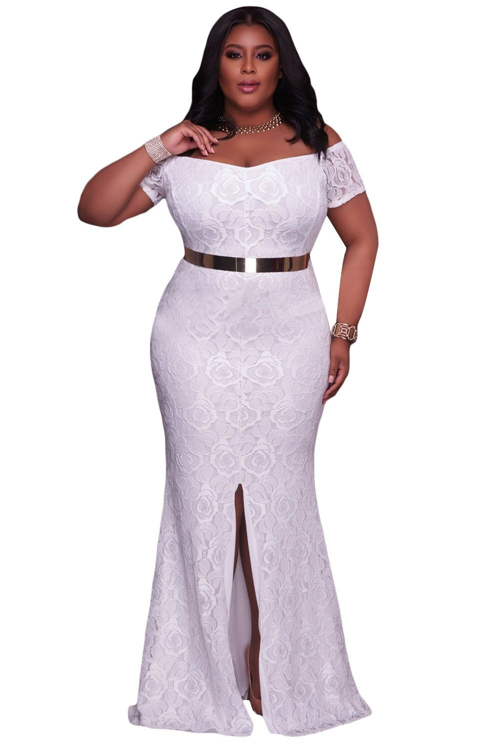 White plus size off shoulder lace gown bodycondresses fashionista