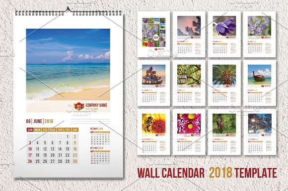 Wall Calendar Template  A By Vector Beauty On