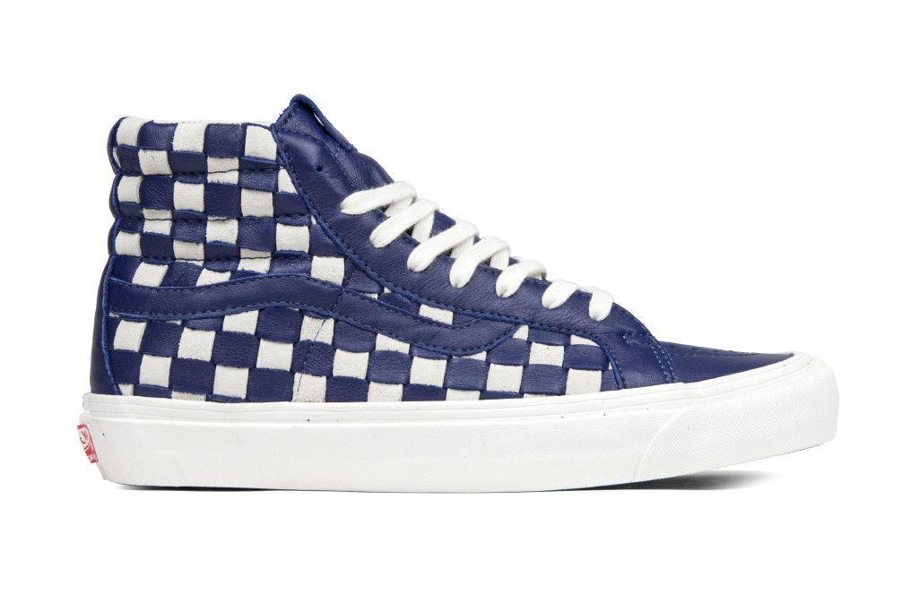 89d38b18822364 Vans Vault Woven Leather OG Sk8-Hi LX - 50th Checkerboard Patriot Blue White