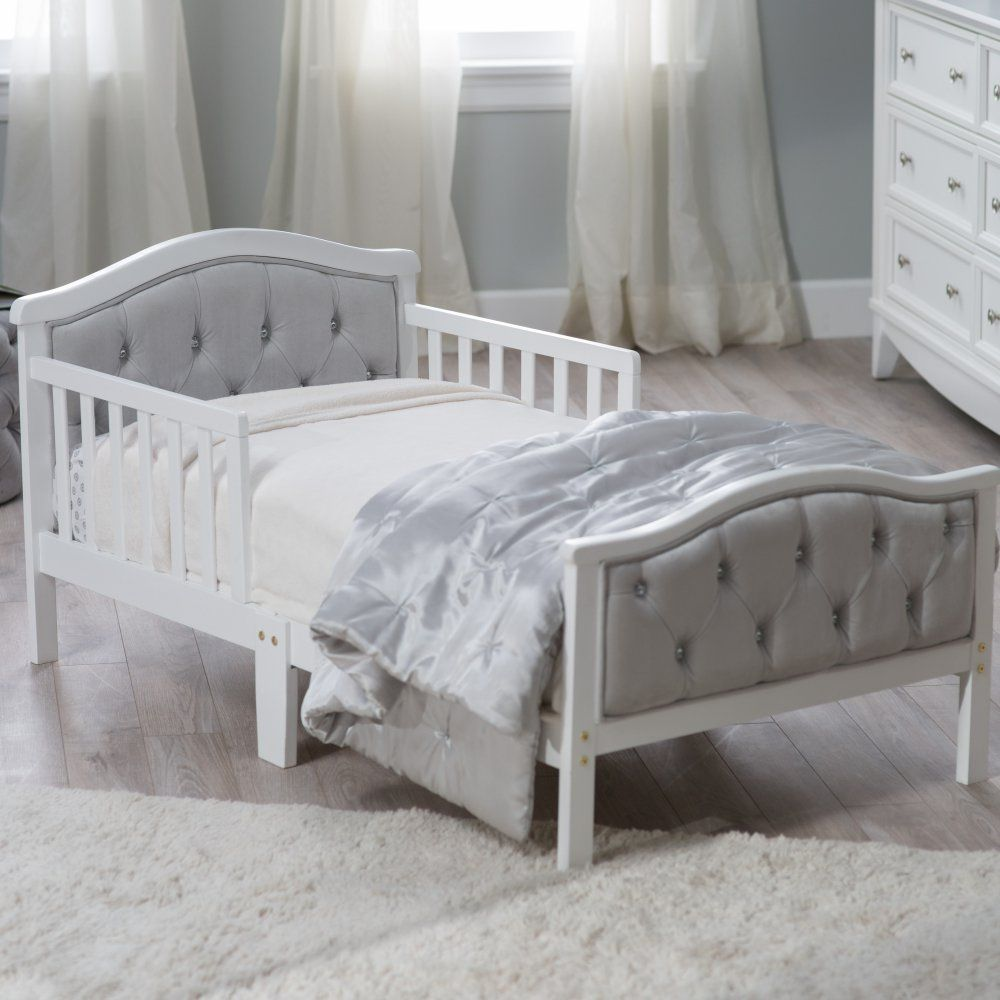 Orbelle Upholstered Toddler Bed Gray French White Toddler Beds At Hayneedle Grey Bedding Toddler Bed Kids Bedroom Furniture