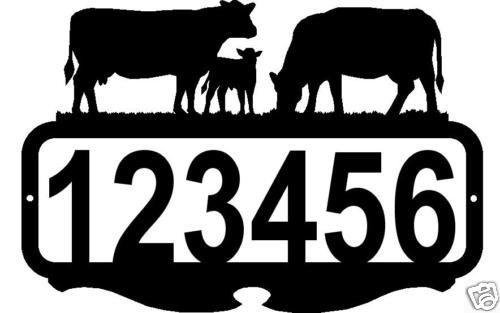 CUSTOM ADDRESS SIGN PERSONALIZED NAME METAL ART COWS RUSTIC FARM RANCH DECOR #CreativeManufacturingUSA #MetalArt