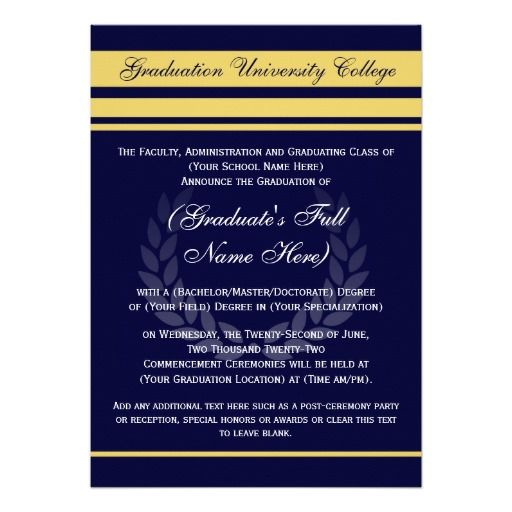 Formal College Graduation Announcements  Blue  Formal