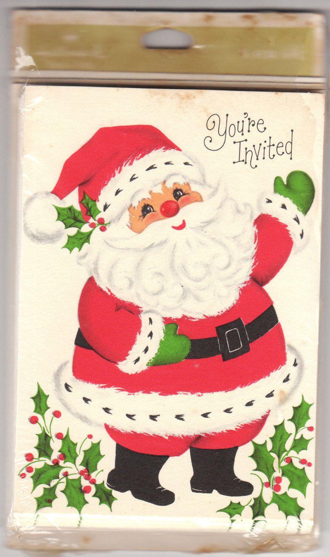 Santa Claus Vintage Hallmark Party Invitations by BirdhouseBooks on ...