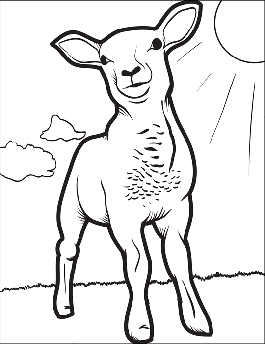Lamb Coloring Page 2 Easter colouring Free printable and Easter
