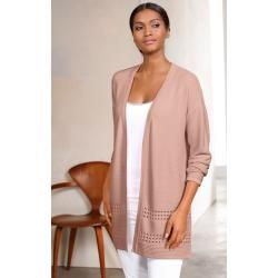Photo of Alba Moda, Strickjacke mit Ajour Muster am Saum, Rosé Alba Moda
