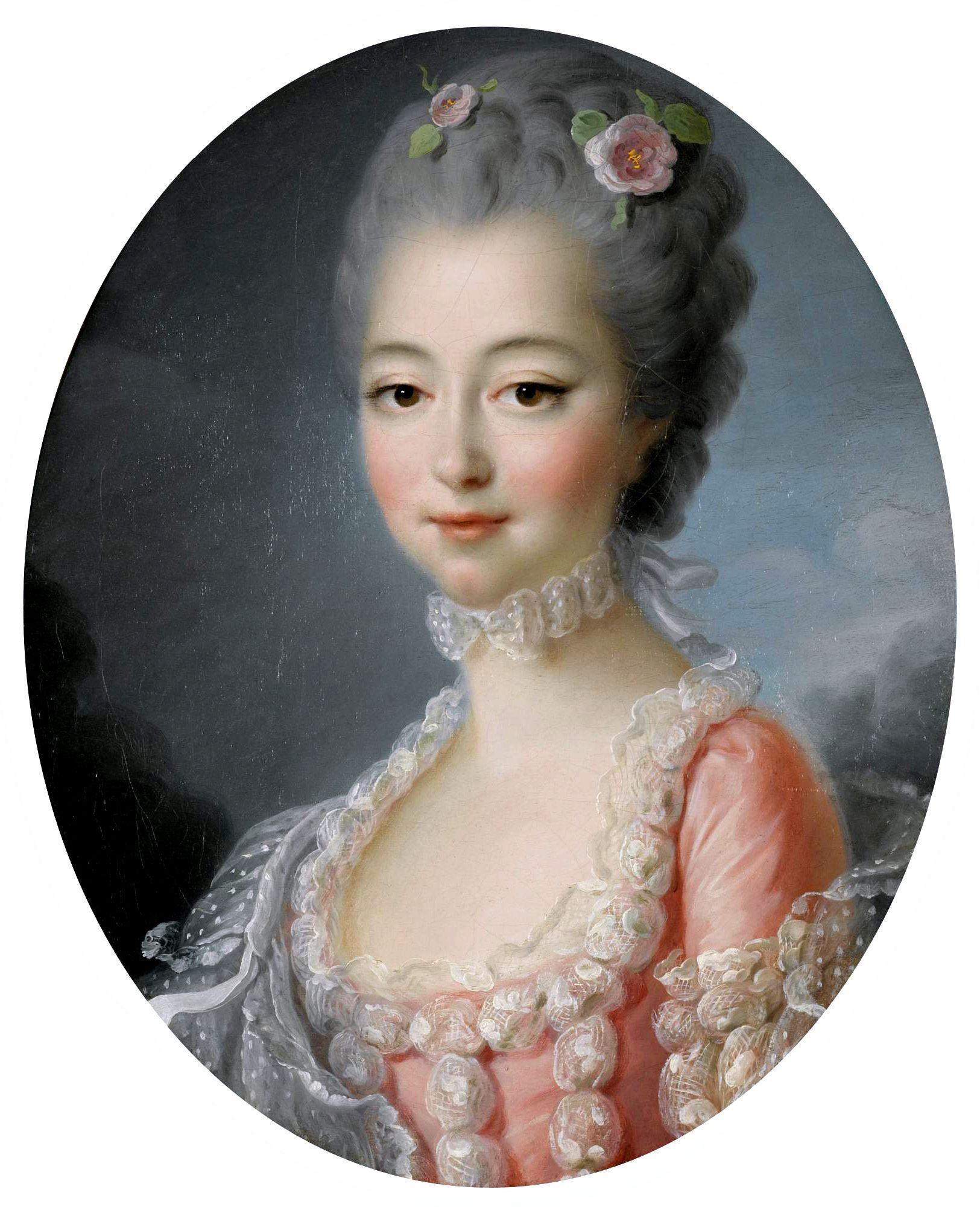François-Hubert Drouais, Portrait d\'une Lady, portant une robe rose ...