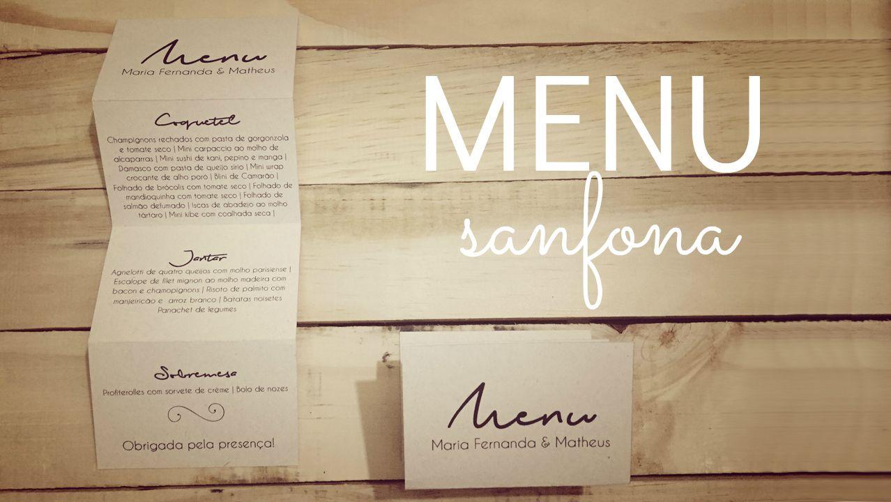 Wedding menu diy menu de casamento sanfona faça você mesmo