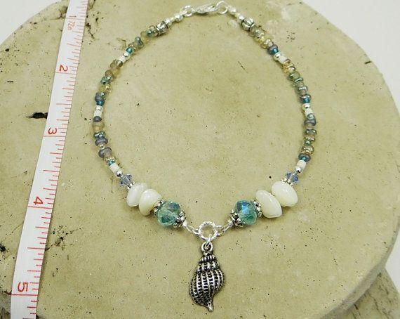 Anklet Ankle Bracelet Sea Shell Anklet Aqua Anklet Beach