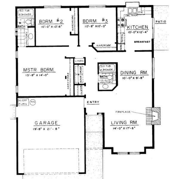 3 bedroom bungalow floor plans 3 bedroom bungalow design for Three bedroom house layout