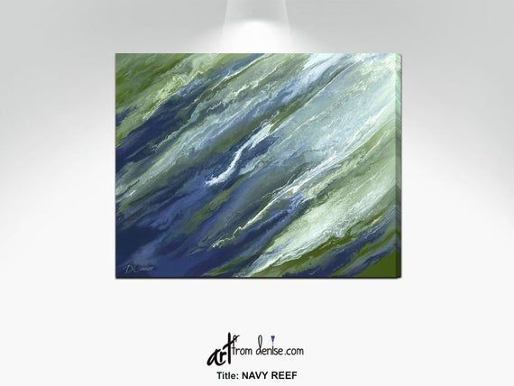 Olive Green Navy Blue Wall Art Canvas Abstract Chartreuse Etsy Blue Wall Art Canvas Navy Blue Walls Blue Wall Art