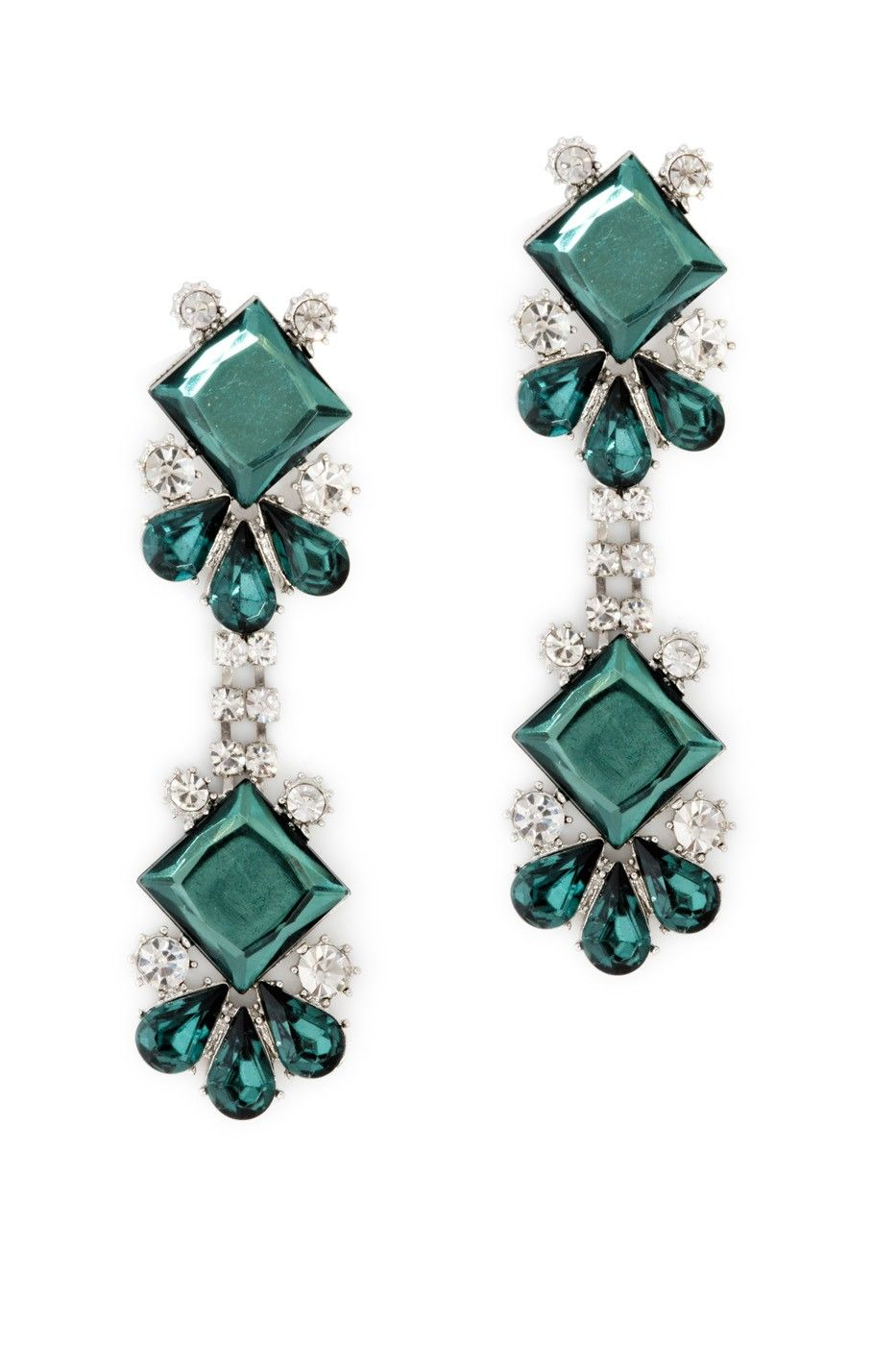 These vintage-esque earrings mix elegance and drama, an unforgettable design, gorgeous color, and a whole lotta sparkle. Post backing and anchoring emerald stone drip down into the hanging, mirror-image bottom. Instant fashionista flair.