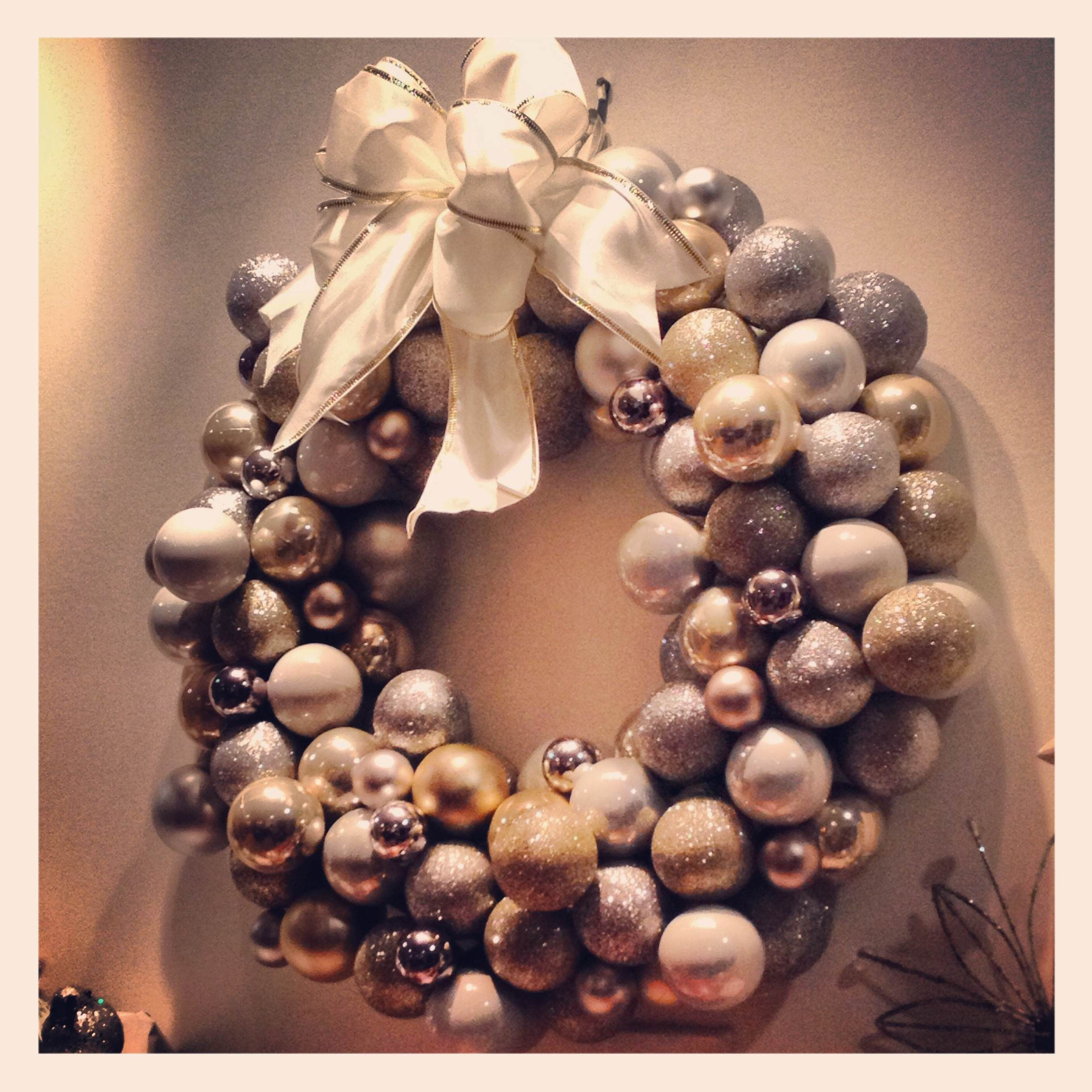 Christmas Wreath made from Dollar Tree christmas ball ornaments The