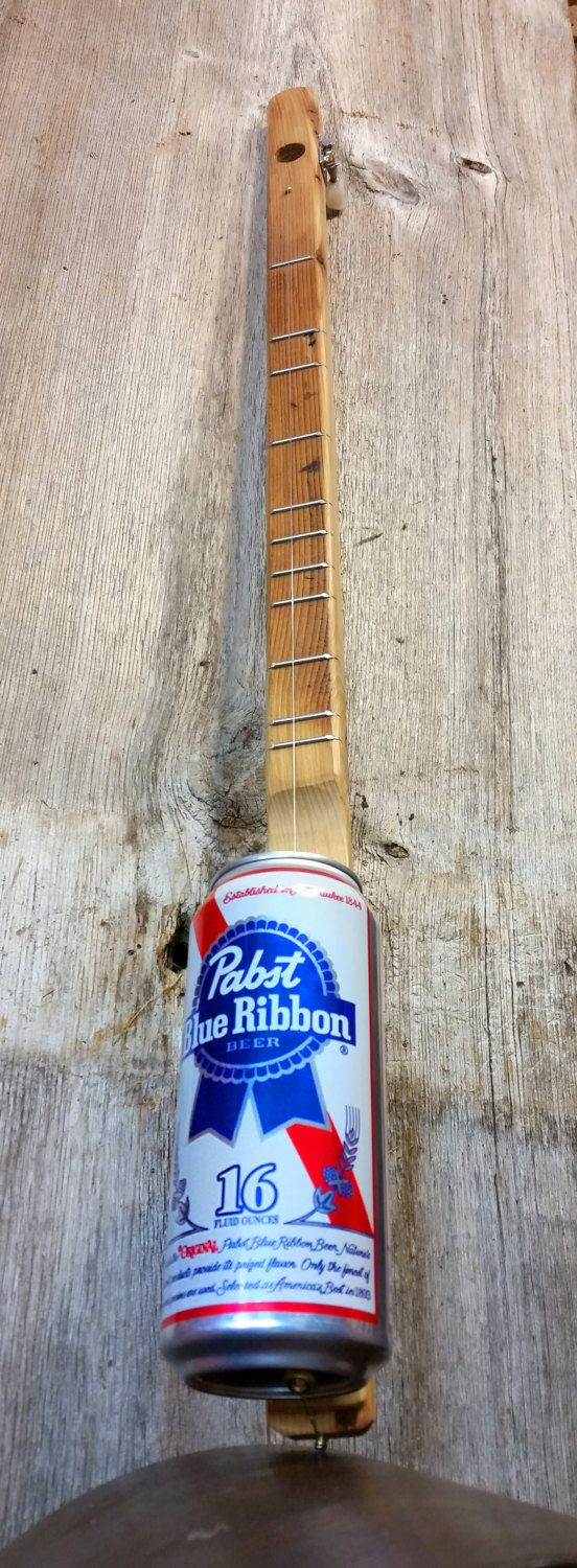 Pabst Blue Ribbon(tm( One-String Acoustic Canjo - Fun & Easy to Play - featuring Reclaimed Wood Neck!