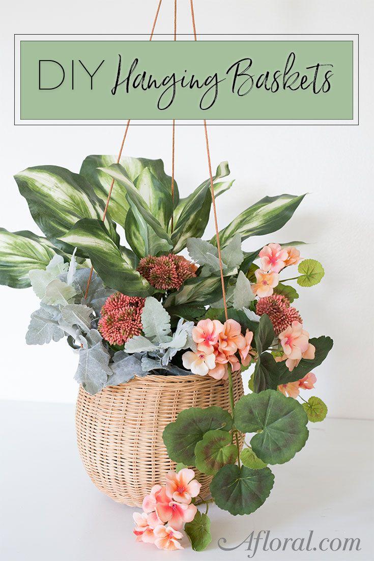 Diy Hanging Baskets Basket Flower Arrangements Hanging Flower Baskets Flower Arrangements Diy Artificial