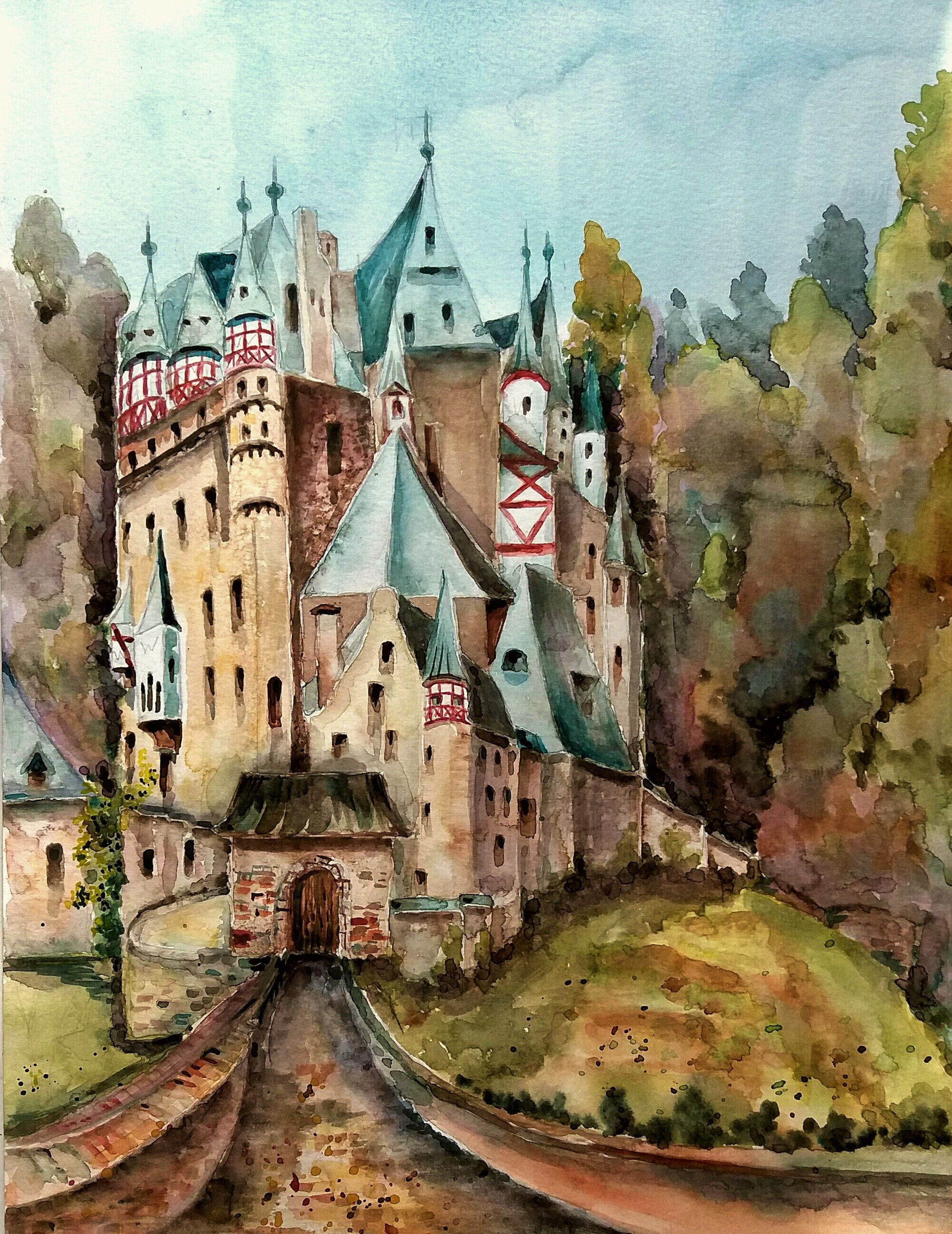 Burg Eltz Aquarell Burg Aquarell Zeichnung