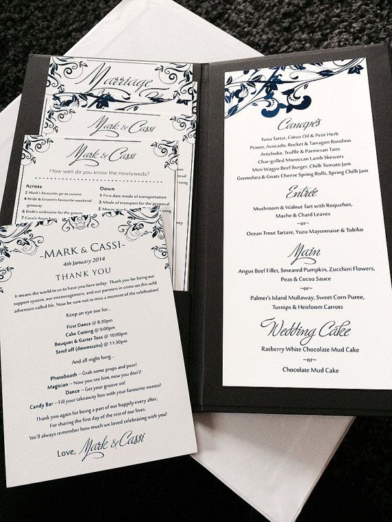 Whimsical Vines Wedding Menu Card Microsoft Word Template Navy - Menu Word Template