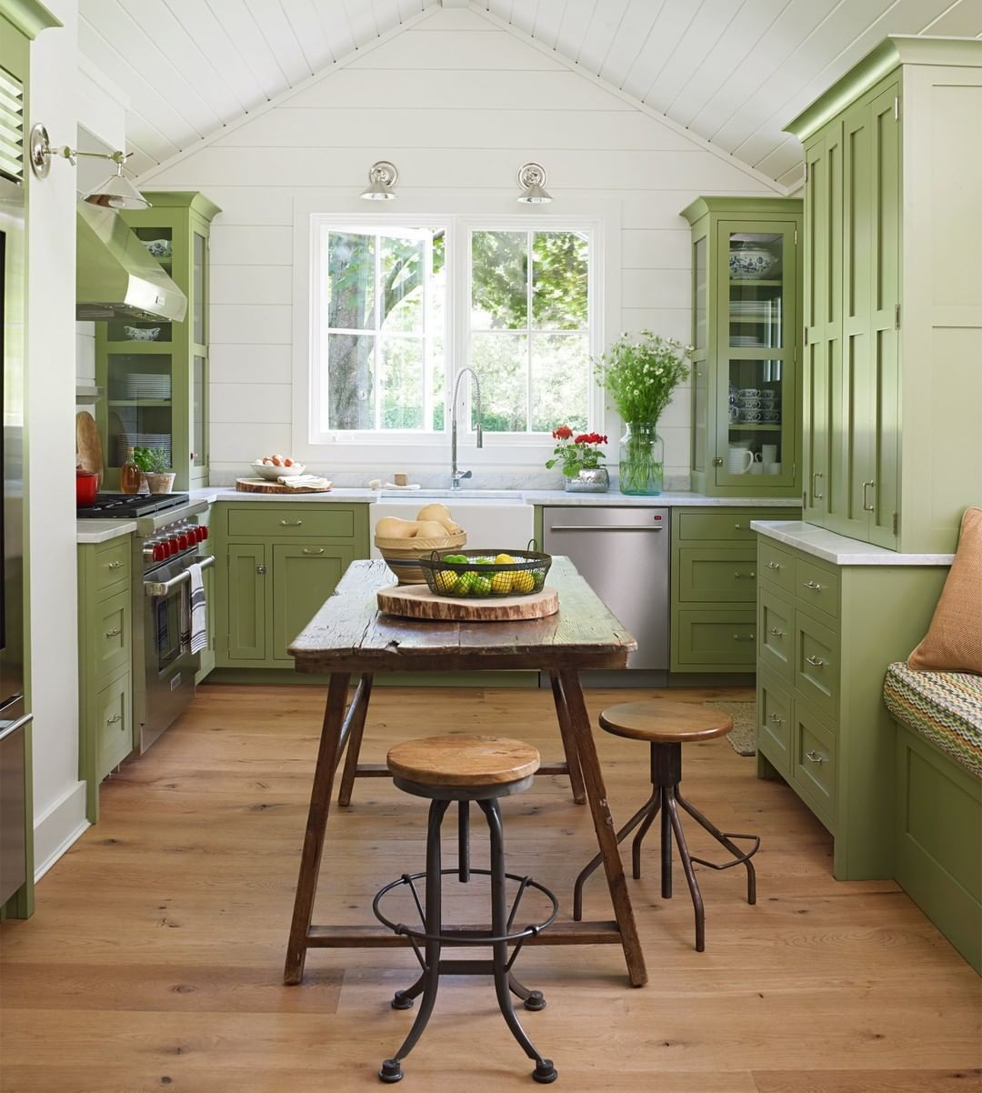 Better Homes Gardens On Instagram This Apple Green Kitchen Is Making Us Green With Envy The Green Kitchen Cabinets Country Kitchen Kitchen Inspirations