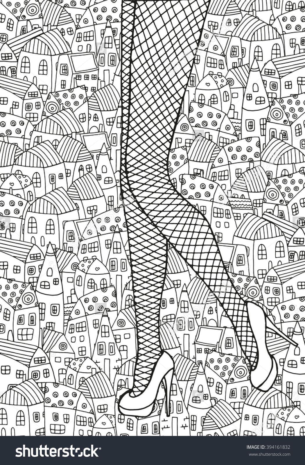 Female legs in fishnet stockings, houses background | Zeichnen ...