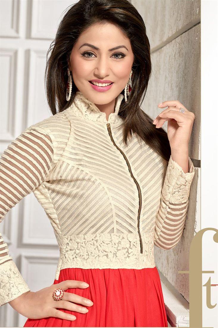Hina Khan Red And Cream Color Anarkali Suit Hina Khan Salwar Suits