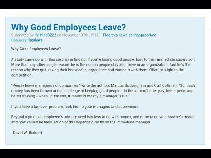 Why Good Employees Leave Jobs  WendiS    Meaningful