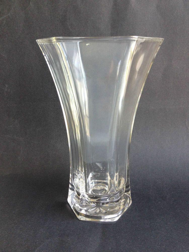 Hoosier Glass Vintage Hexagon Clear Large 10 Tall Heavy Vase 4041