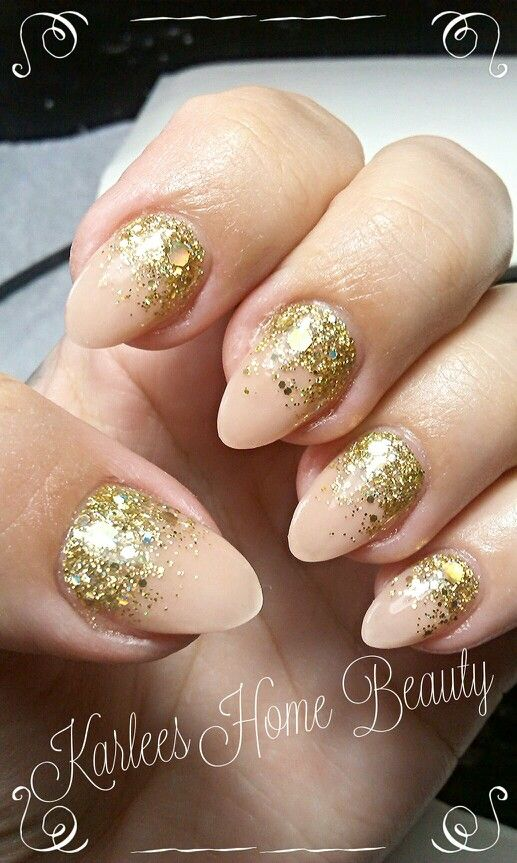 Fluid Nail Design Acrylic Nails In Cover Peach With Glittergasm Chunky Fine Gold Glitter
