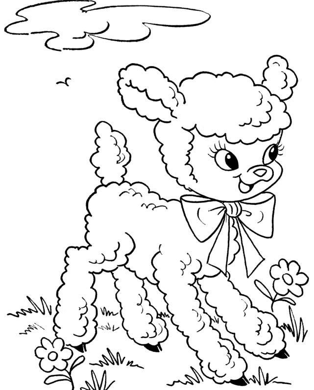 Sweet little lamb - Easter Coloring Page Printable