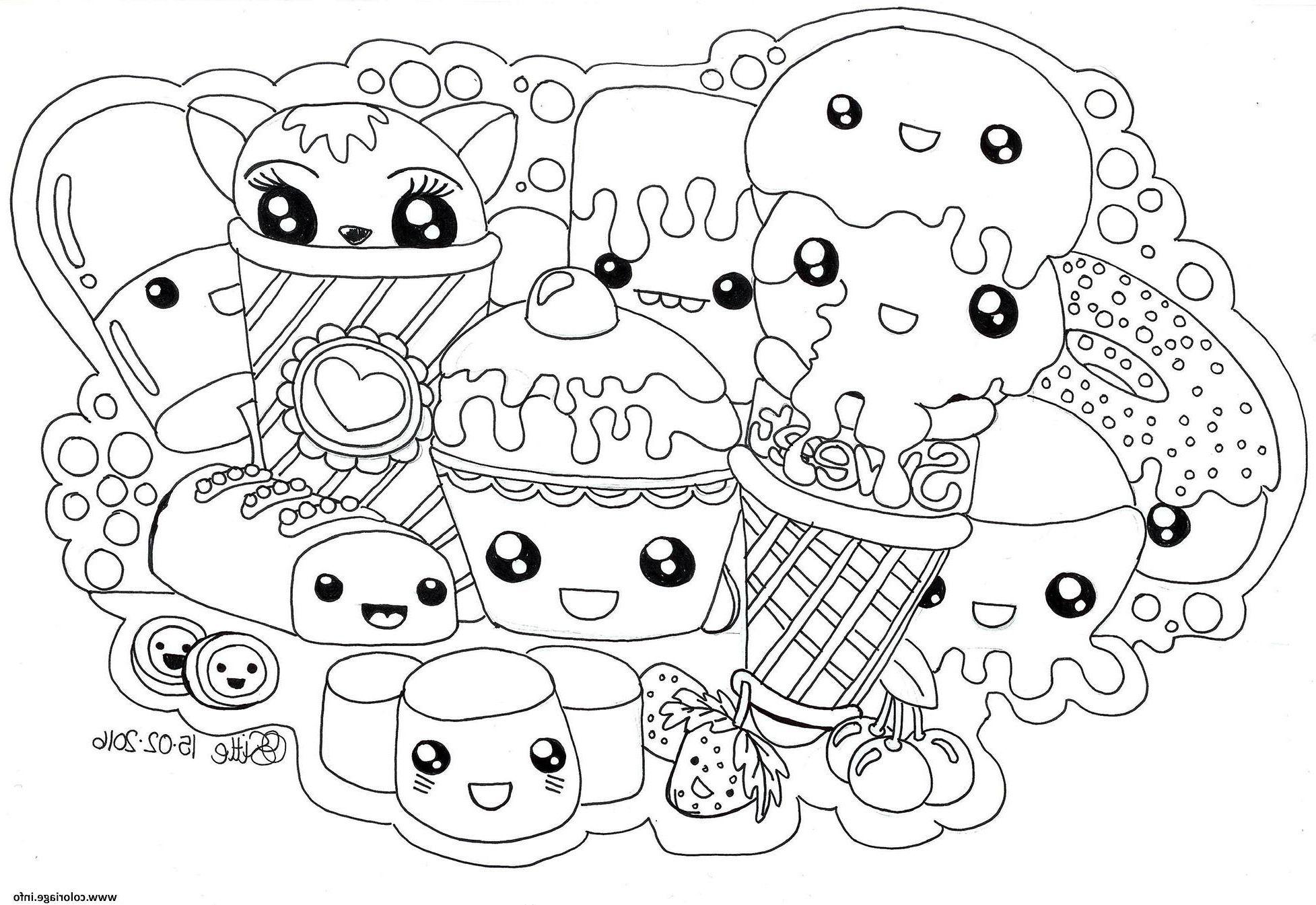 Kawaii Sweets Colour Manga Cute Coloriage In 2020 Animal