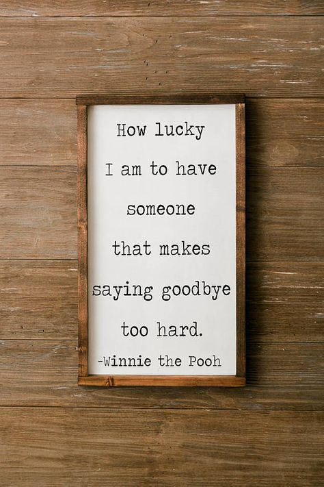 winnie the pooh sign, winnie the pooh quote, how lucky I am sign ...
