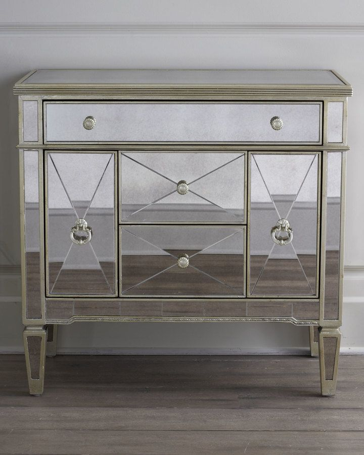 Li Antiqued Silver Finish With Gold Painted Accents Five Drawers 36 W X 19 D 35 T Imported Ul
