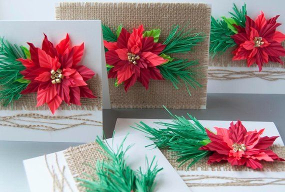 Poinsettia Christmas Origami Greeting Cards Set Of 5 Products