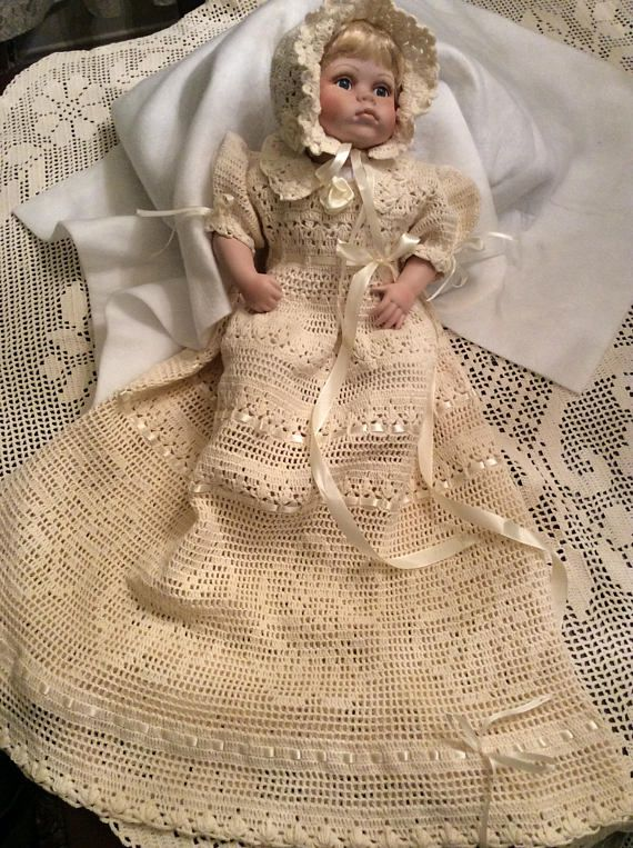 A crochet pdf downloadable pattern for baby Erika christening