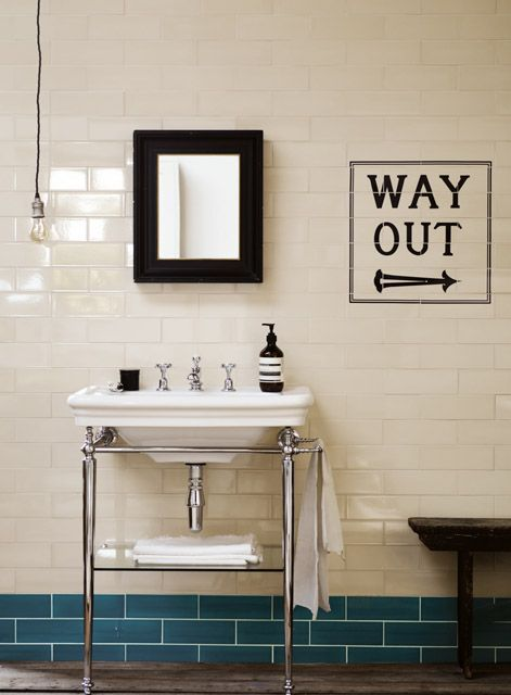 Kensington basin and washstand with tiles from the Underground 150  Collection http://www
