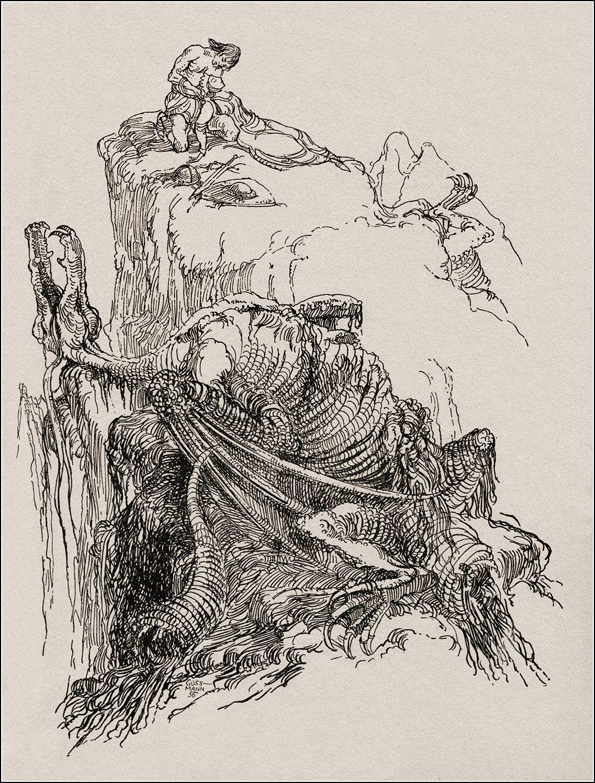 """Märchenillustration von Gerhard Goßmann (1912-1994) aus: """"Fortunat und seine Söhne - sieben Volksbücher"""" - Anne Gelhaar (Hrsg.), Kinderbuchverlag,  Berlin 1959"""