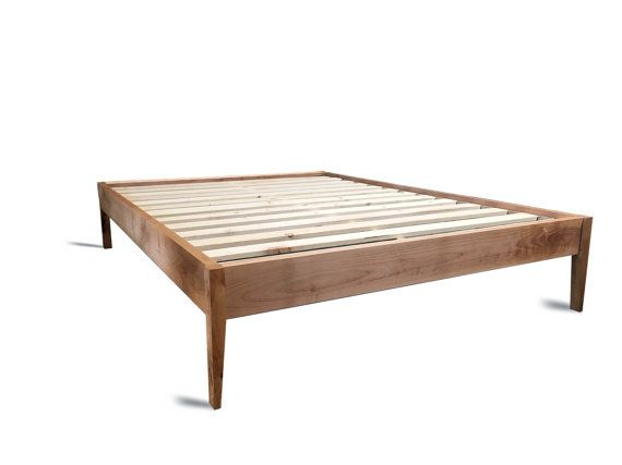 Platform Bed Frame Simple Wood Bed With Sleek Tapered Legs Etsy Simple Bed Frame Modern Wood Bed Rustic Wood Bed