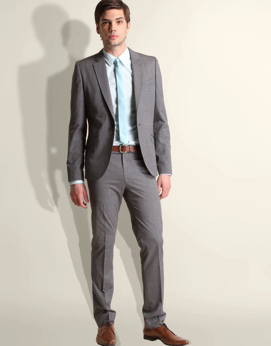 Grey suit. White shirt. Coloured tie. | Suits | Pinterest | Grey ...