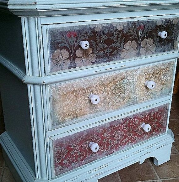 Decoupage dresser drawers